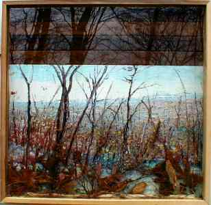 A Winter Landscape Painting with a view of NYC